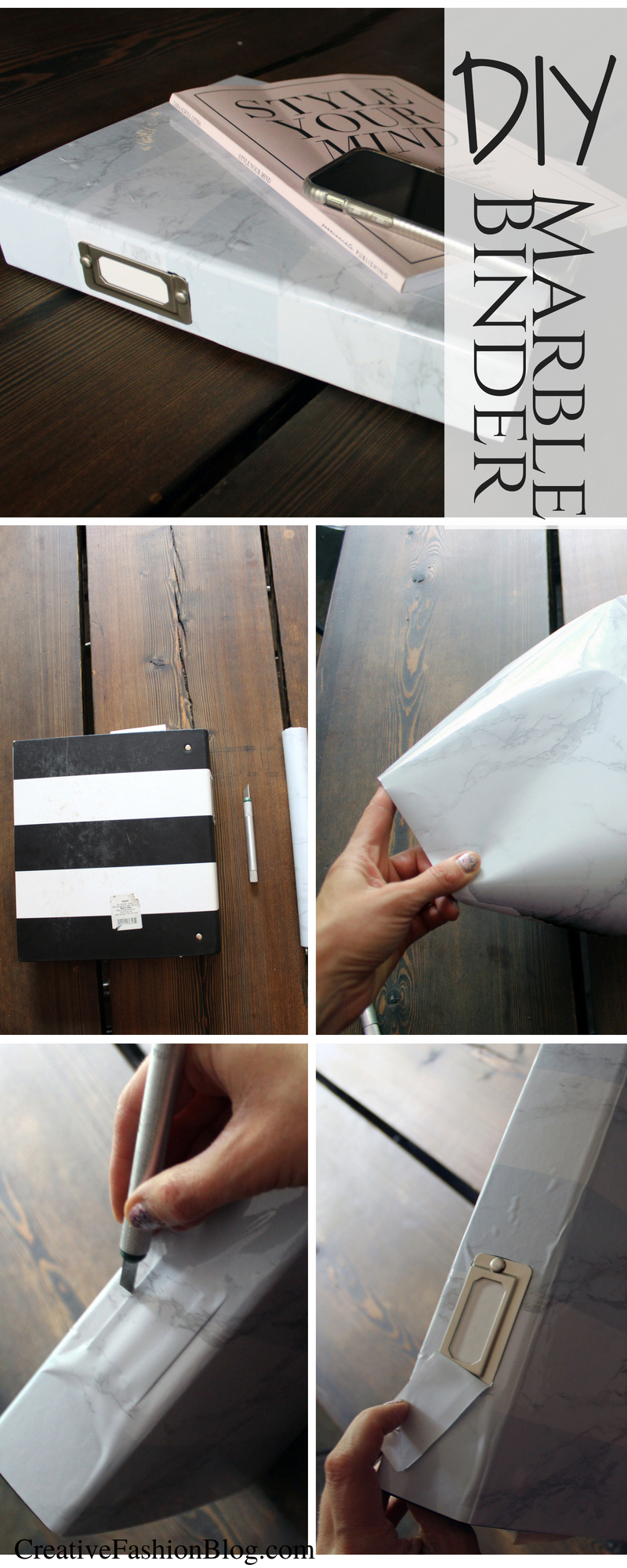 Marble binder DIY craft project .