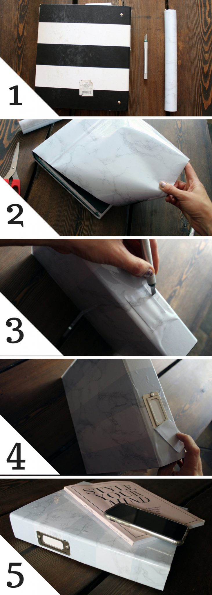 Marble binder DIY craft project