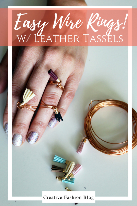 easy diy ring tutorial . simple wire jewelry with boho leather tassels