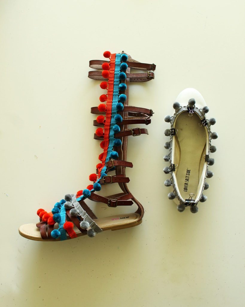 DIY Pom Pom Shoes. Makeover gladiator sandals or ballet flats with this summer refashion