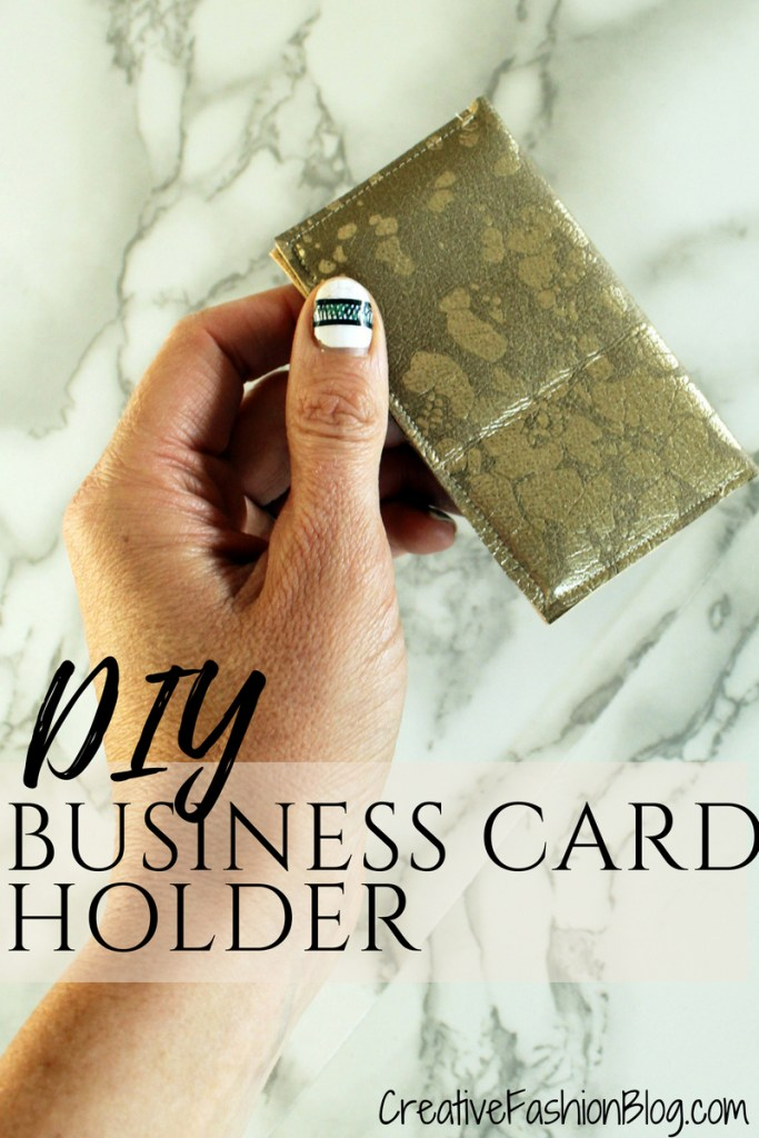 DIY faux suede Business Card Holder Wallet tutorial with printable pdf pattern