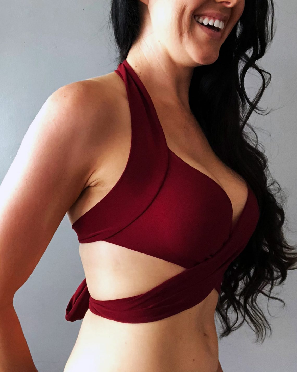 How to make a wrap swimsuit bikini top from scratch .