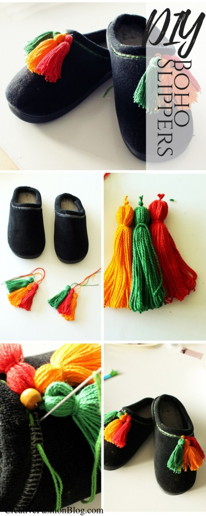 Refashion Easy DIY Slippers Tutorial with embroidery floss Tassels.. Included a Basic embroidery tutorial.