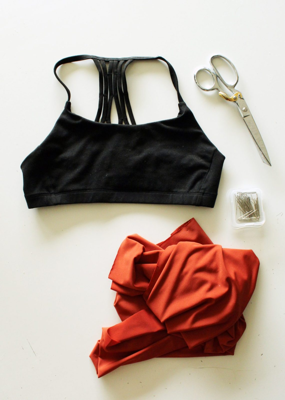 diy workout shirt tutorial from a sportsbra supplies