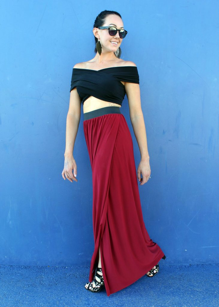 how to sew a diy maxi skirt with slit..