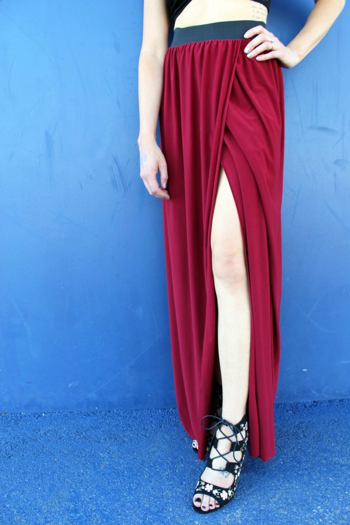 how to sew a diy maxi skirt with slit