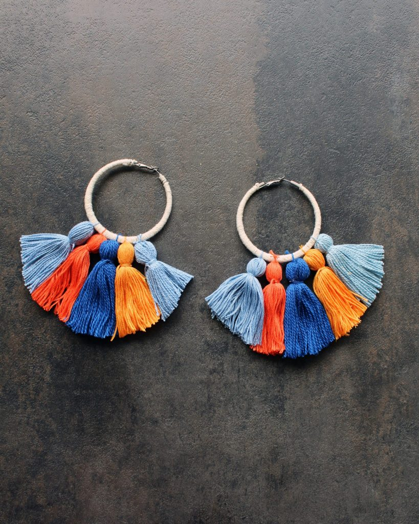 Easy DIY boho tassel earrings with hoops tutorial