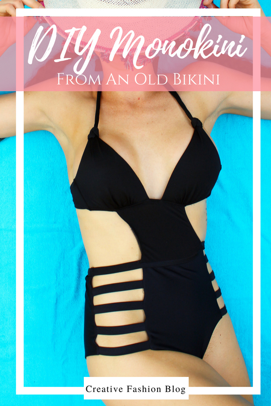 Full tutorial How to make DIY monokini swimsuits! This black one piece is a refashion from an old bikini set.