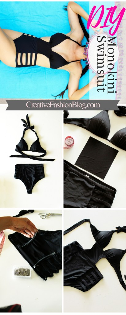 Full tutorial How to make DIY monokini swimsuits! This black one piece refashion is from an old bikini