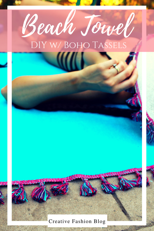 How to make a DIY beach towel with boho tassels. Easy sewing tutorials with full video