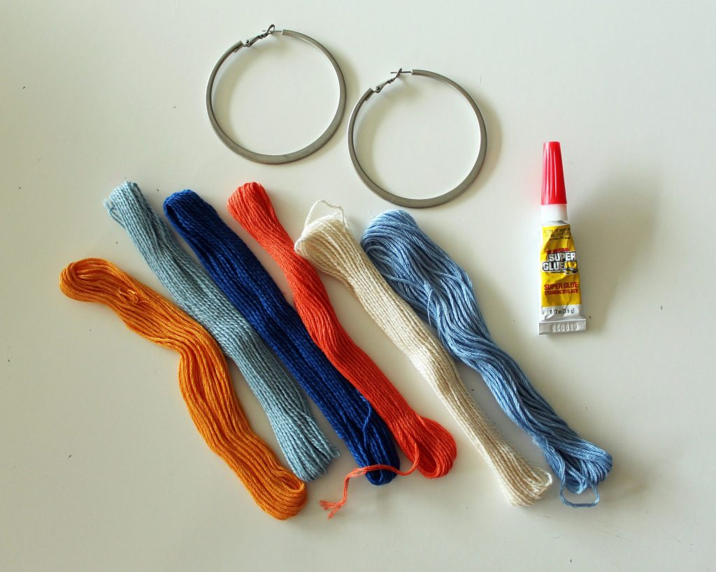 Supplies to make Easy DIY boho tassel earrings with hoops tutorial.