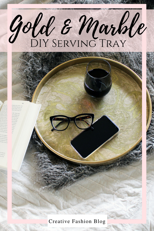 DIY Gold and Marble Tray Tutorial With Marble Paper and glue from papersource