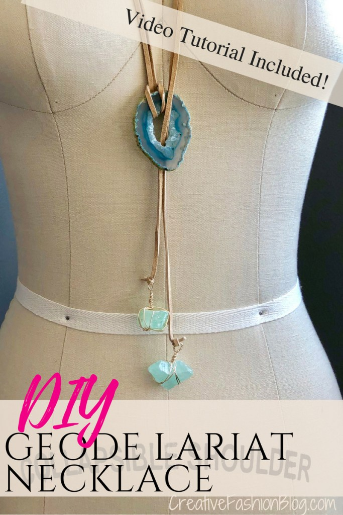 DIY Lariat necklace from a geode and wire wrapped crystals This is such an awesome jewelry making DIY tutorial