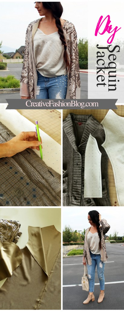 How to make a DIY Sequin Jacket Cardigan full tutorial and summer outfit idea ....