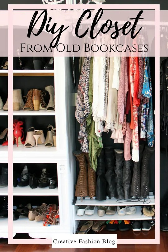How to make a closet from an old bookcase.. Click through for the easy full DIY tutorial..