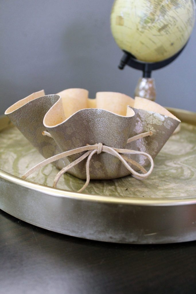 How to make a natural suede leather jewelry dish . easy No Sew Video Tutorial