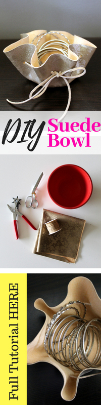 How to make a natural suede leather jewelry dish .. This simple jewelry storage idea is so easy and comes with a No Sew Video Tutorial
