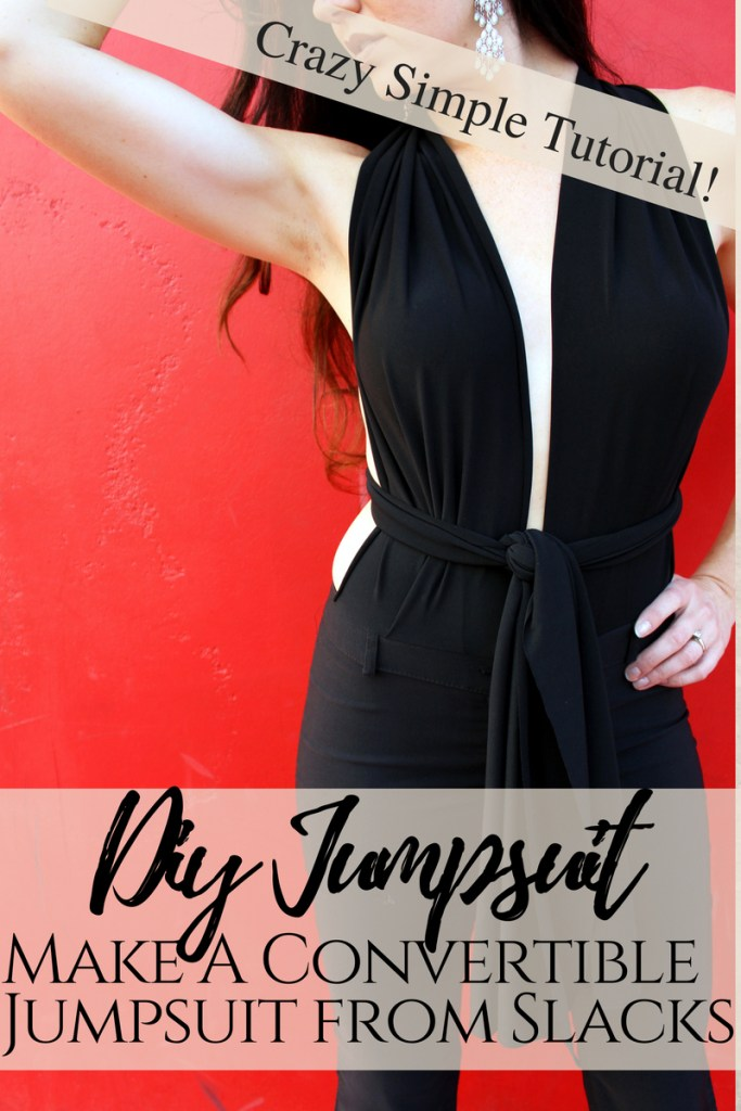 How to make a refashion DIY convertible jumpsuit from a pair of basic slacks