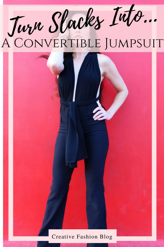 How to make a refashion DIY convertible jumpsuit from a pair of regular slacks