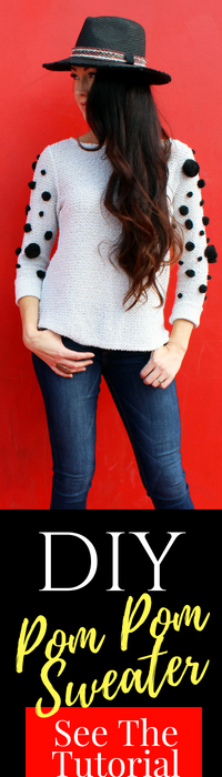 How to make a simple DIY pom pom sweater for fall . A fun clothing refashion idea