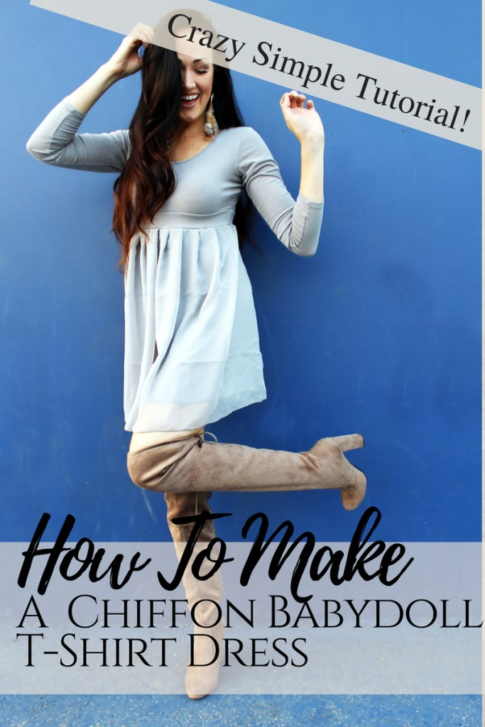 How to make a simple chiffon babydoll t shirt dress refashion