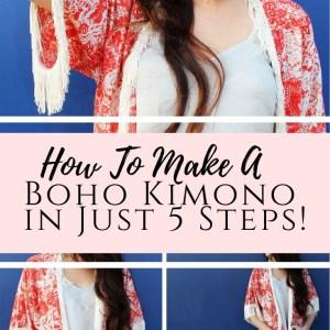 Boho DIY kimono with fringe from scratch
