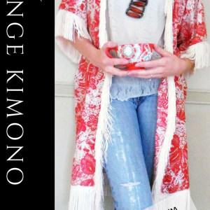 Boho style DIY kimono with fringe from scratch!