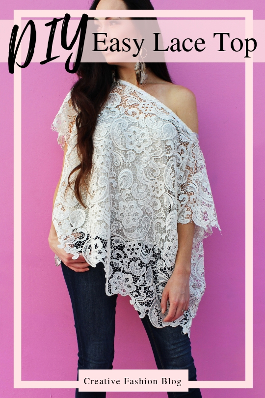 How to make an easy DIY lace shirt with this simple fashion top clothing beginner sewing tutorial .