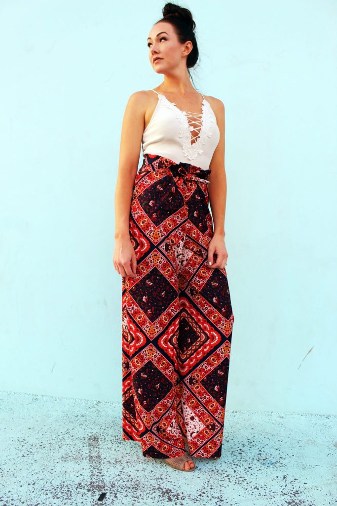 DIY drawstring printed palazzo pants simple sewing tutorial with video .