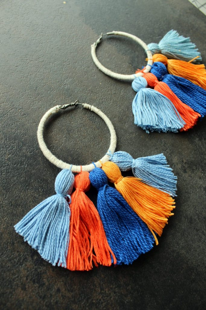Easy DIY boho tassel earrings with hoops tutorial.
