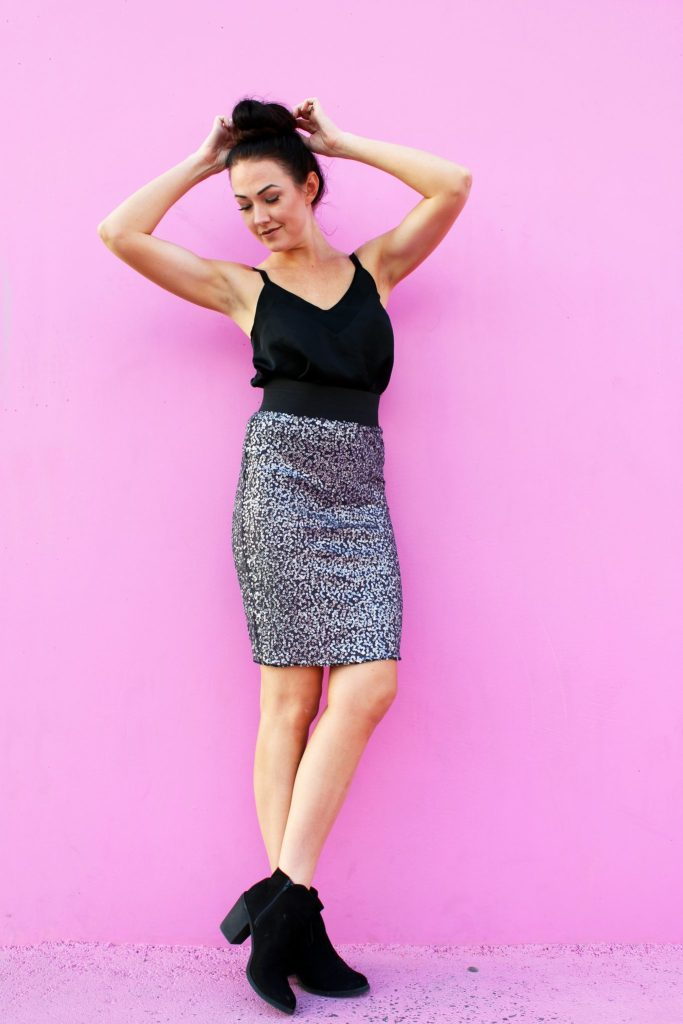 How to make a DIY sequin pencil skirt