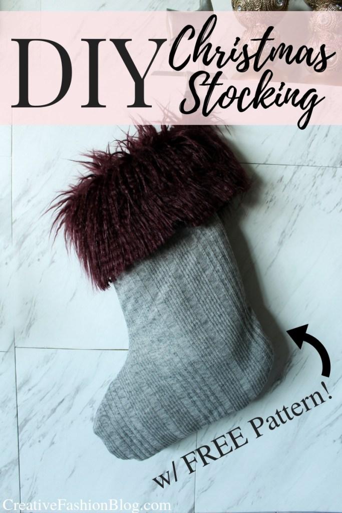 How to Make an easy faux fur DIY Christmas Stocking FREE printable pdf pattern
