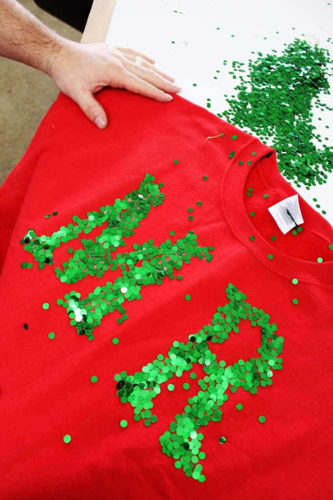 How to make sequin letters for DIY Ugly Christmas Sweaters