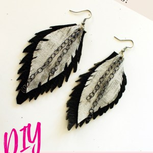 How to make these easy feather leather earrings with a jewelry DIY