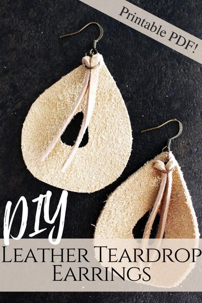 DIY leather teardrop earrings easy jewelry making tutorial with free printable template
