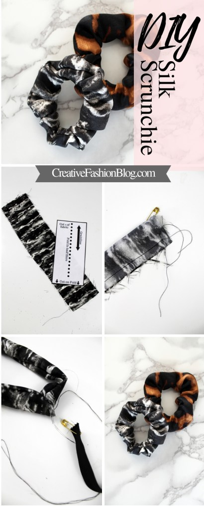 How to make a DIY scrunchie with a FREE printable sewing pattern pdf..