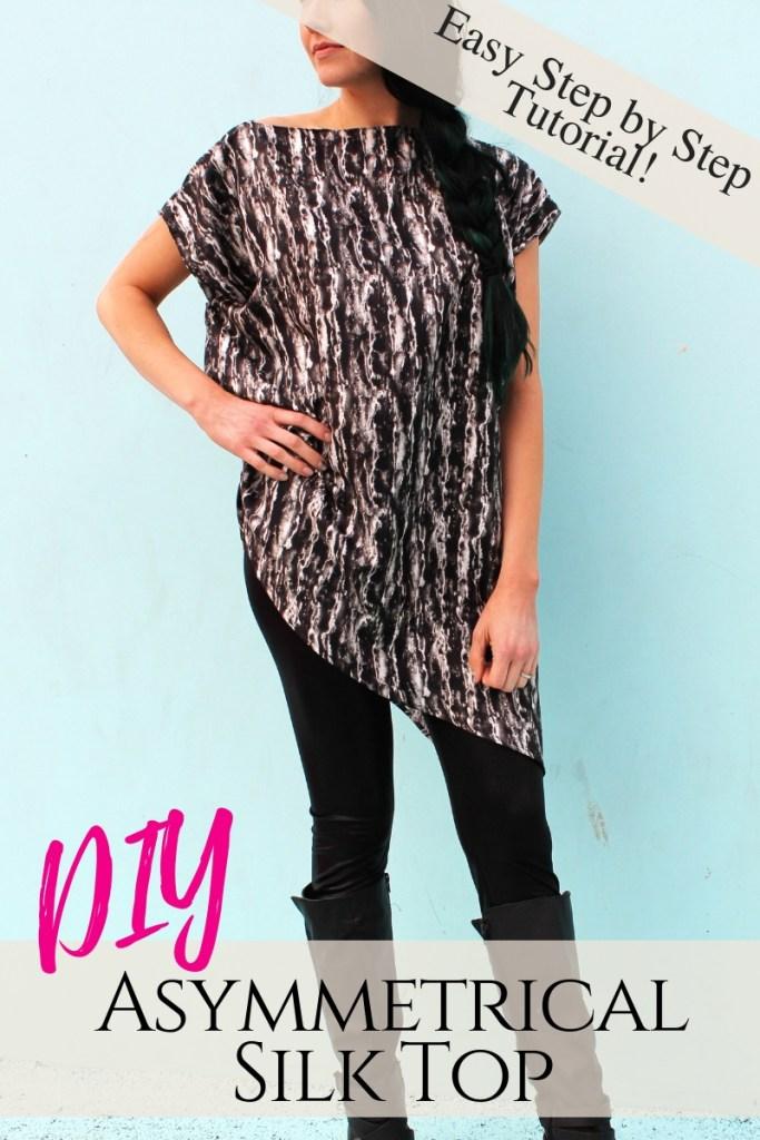 How to make an easy silk asymmetrical top DIY new pattern shirt beginner sewing tutorial