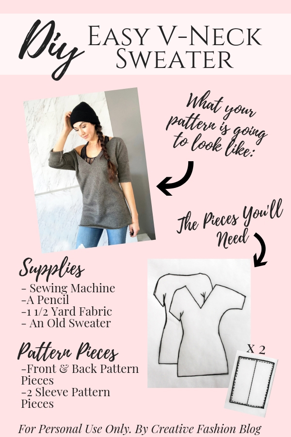How to make your own DIY sweater easy beginner sewing tutorial printable pdf