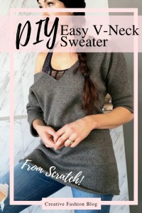 How to make your own v neck DIY sweater easy beginner sewing tutorial....