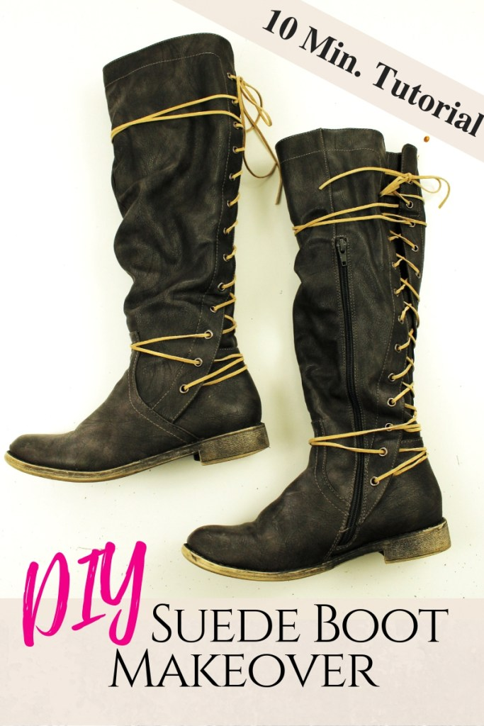 Refashion Your Leather Boots In Just Ten Minutes with Simple Suede Lace makeover