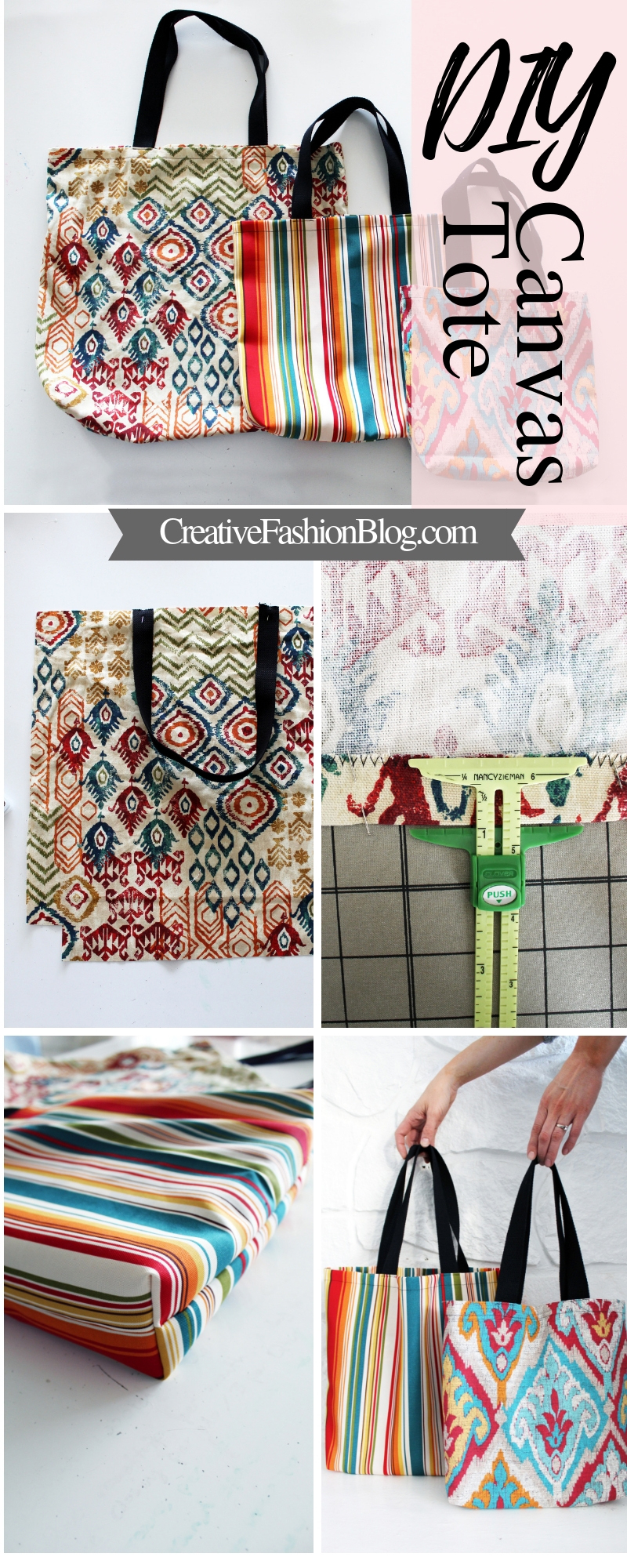 3 DIY tote bag sewing patterns with easy video and written instructions