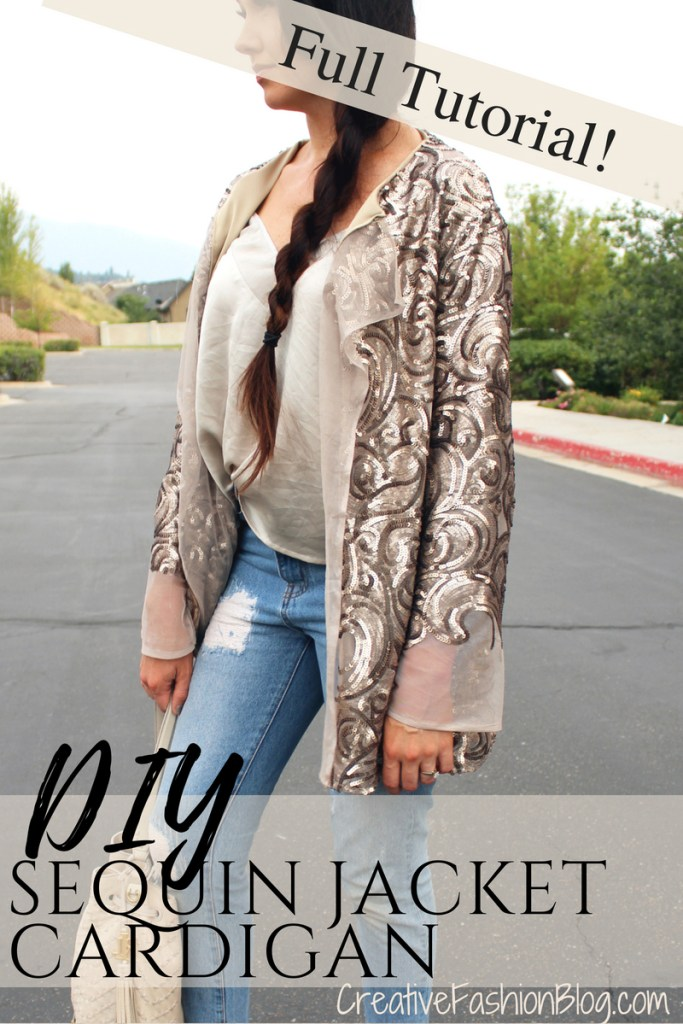 How to make a DIY Sequin Jacket Cardigan full tutorial and summer outfit idea