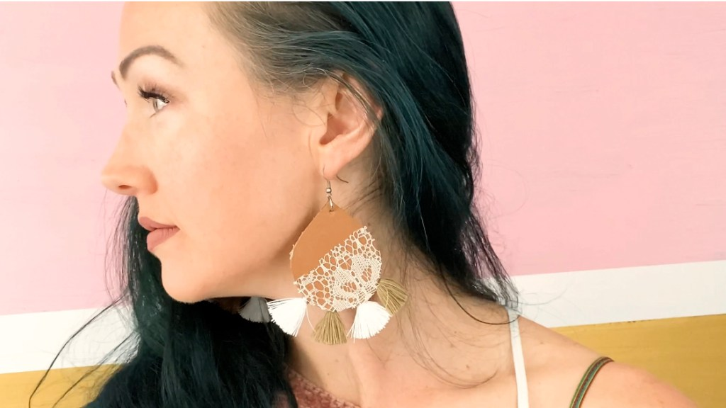 easy diy leather lace earrings