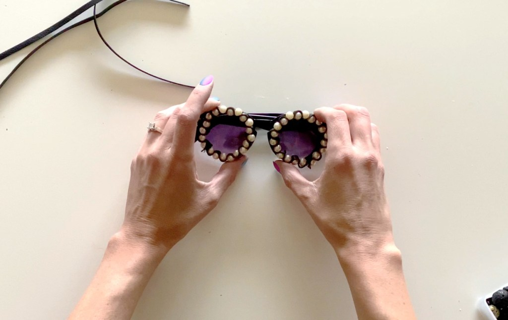 pearl and leather DIY sunglasses