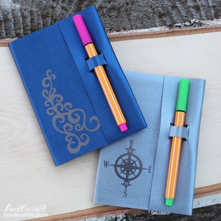 leather journal with pen holder made with Cricut Maker perfect handmade gift (7)