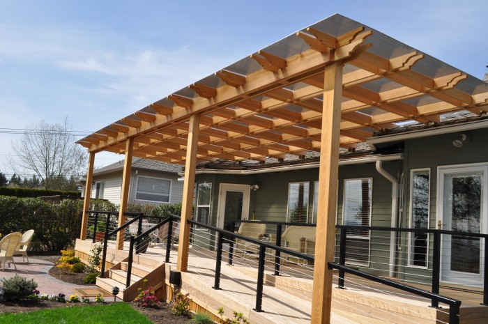 Ipe Deck With Cedar Pergola And Stainless Steel Rails