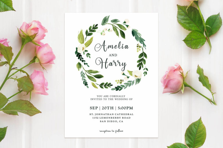 Preview image of Greenery Floral Wedding Invitation Template
