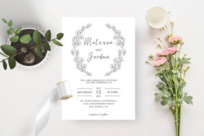 BW Laurel Wedding Invitation Template