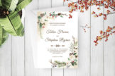 Last preview image of Green Botanical Wreath Wedding Invitation Template