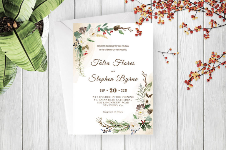 Preview image of Green Botanical Wreath Wedding Invitation Template